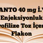 PANTO 40 mg İ.V. Enjeksiyonluk Liyofilize Toz İçeren Flakon